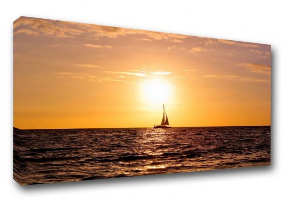 Sailing Boat at Sunset. Art Canvas. Sizes: A3/A2/A1